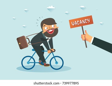 Man riding a bicycle towards a hand holding a placard with Vacancy announcement. Hiring and looking for a job concept. Vector colorful illustration
