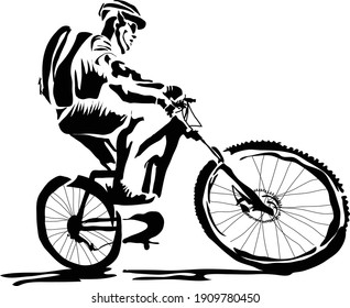 Man riding bike with backpack and helmet vector illustration