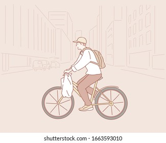 Man riding a bike. Hand drawn style vector design illustrations.