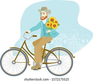 Man riding bike holding bunch of sunflowers