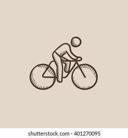 Man riding  bike sketch icon.
