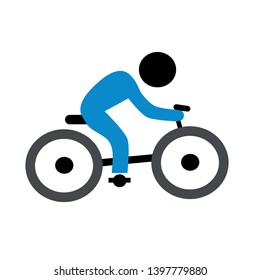 Man riding bike vector icon. Man with bicycle filled flat sign for mobile concept and web design. Bike with cyclist glyph icon. Symbol, logo illustration. Pixel perfect vector graphics