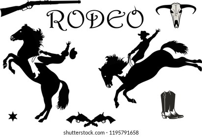 Man riding bucking bronco in rodeo wild west