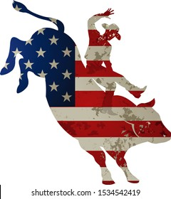 Man riding bucking bronco in rodeo wild west. USA flag