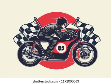 man riding cafe racer in hand drawing style