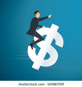 a man riding dollar icon vector. business concept illustration. way to success.