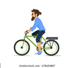 man is riding electric bike isolated
