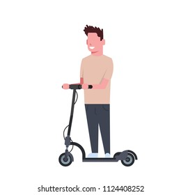 man riding electric kick scooter over white background. cartoon full length character. flat style vector illustration