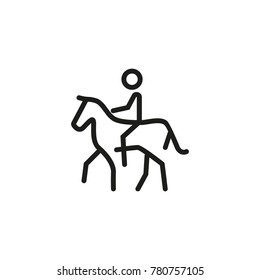 Man riding horse line icon