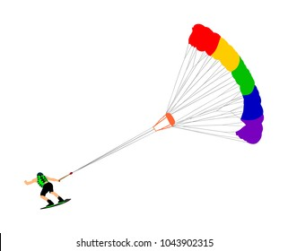 Man riding kiteboard vector. Extreme water sport kiteboarding with parachute. Kite surfer on waves. Kite surfing on beach, enjoying in summer holiday time. Kitesurfer. Aqua sport.