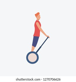 Man riding on electric scooter. Guy, activity, hobby. Can be used for topics like transpiration, vehicle, tourism