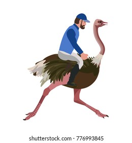 Man riding an ostrich. Vector illustration isolated on the white background