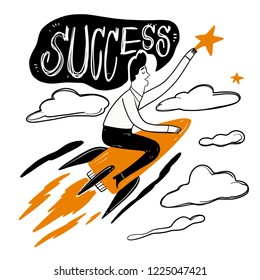 Man riding a rocket through the clouds at speed to grab the stars, metaphor leadership solutions corporate of success. Vector Illustration doodle style