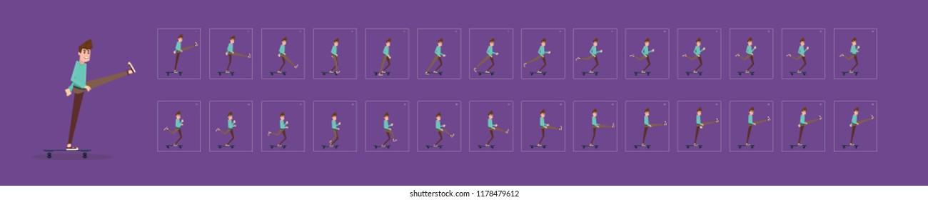 man riding skateboard. young adult boy rides skateboard. Skater vector design.  Flat style character vector illustration. frame by frame skateboarding animation.