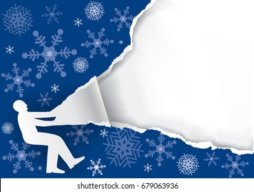 Man Ripping Christmas Paper Background. Paper male silhouette ripping blue christmas paper background. Unwrapping gift. Vector available.