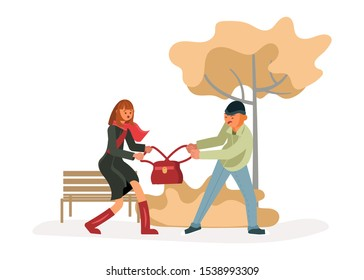 Man robber snatching a bag from an young woman walking alone. Girl resists thief. Crime concept. Flat Art Vector illustration
