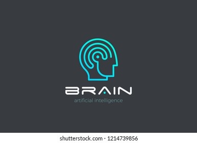 Man Robot Brain Artificial Intelligence Logo design vector template Linear style. AI Automation technology Psychology Brainstorm Logotype concept.
