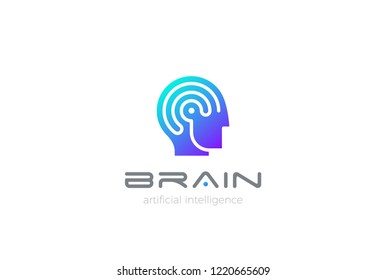 Man Robot Brain Artificial Intelligence Logo design vector template. AI Automation technology Psychology Brainstorm Logotype concept.