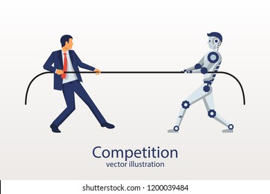 Man with the robot is competing. Tug of war. Who is stronger. Vector illustration flat design. Isolated on white background. Versus concept. People against machine.