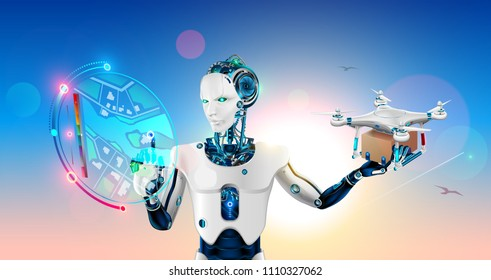 Man robot or Cyborg with artificial intelligence launches drone in the point on virtual hud map. Automated intellectual delivery system packages by autonomous drone. Future concept illustration.