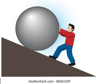 Man rolls a stone up the hill. Sisyphean task - endless and unavailing labor