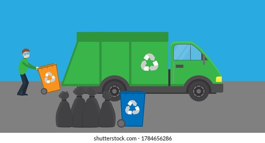 man rolls trash can  with a logo for a garbage truck on a gray-blue background. Ecology concept. Vector flat illustration