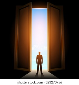 Man in room with big open door & Man Opening Door Images Stock Photos u0026 Vectors | Shutterstock