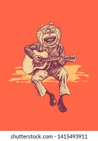 A man with round glasses plays the guitar and sings the nostalgic songs of his youth. Drawing Style. Vector illustration.