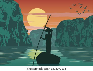 man row boat to go to come back home by pass Ha long bay famous landmark of Vietnam ,vintage color,vector illustration