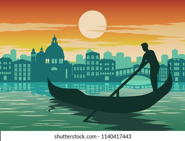man row boat in Venice, famous landmark of Italy, on sunset time,vintage and classic color, silhouette design,vector illustration