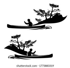 Mann, der in Kanubooten mit Pinienwald-Linie rudert - Schiff mit schwarz-weißem Vektorgrafik-Skizze