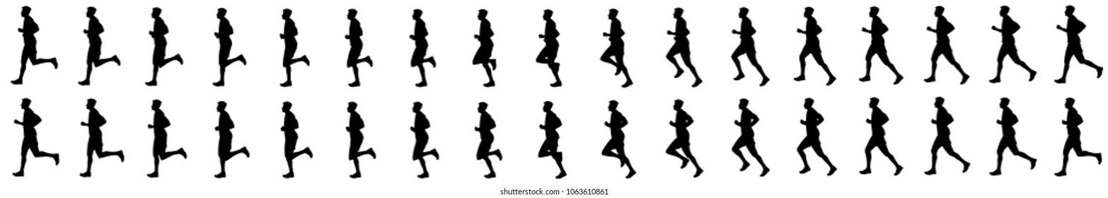Man run cycle animation sprite sheet