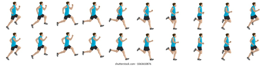 Man run cycle animation sprite sheet