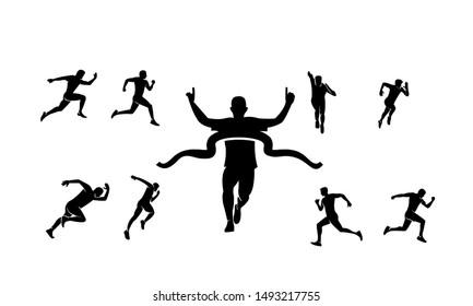 man run silhouette set logo icon design template