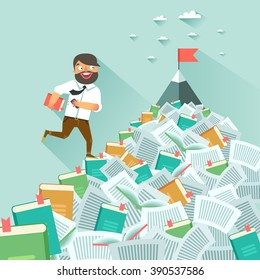 Man running up along stairs of books, concept of education, learning, personal development, successful career start. Vector colorful illustration in flat design
