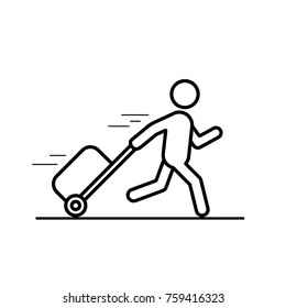 Man is running with a bag line icon, hurrying to the transport. Vector outline illustration.