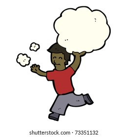 man running with cloud cartoon