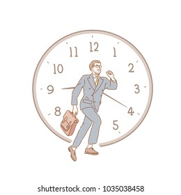 A man running in front of a huge clock. hand drawn style vector doodle design illustrations.