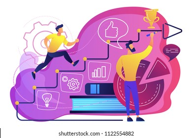 A man running up to the hand drawn stairs as a concept of coaching, business training, goal achievment, success, progress, carreer ladder, violet palette. Vector illustration on white background.