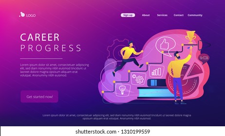 A man running up to the hand drawn stairs as a concept of coaching, business training, goal achievment, success, progress, carreer ladder, violet palette. Website landing web page template.