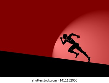 A man running up a hill against wind resistance for the concept of resolute determination. Vector illustration.