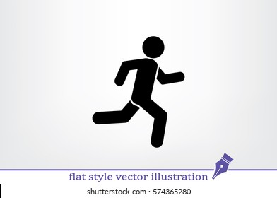 man running icon vector illustration eps10. Isolated badge athlete flat design for website or app - stock graphics