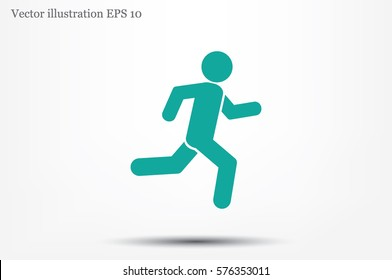 man running icon vector illustration eps10. Isolated badge athlete flat design for website or app - stock graphics.