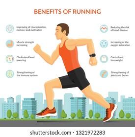 Man running jogging outdoors. Sport fitness infographic concept. Vector illustration