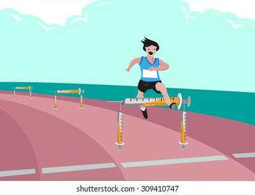 Man Running and Jumping Over Hurdles made of Syringe. Editable Clip Art.
