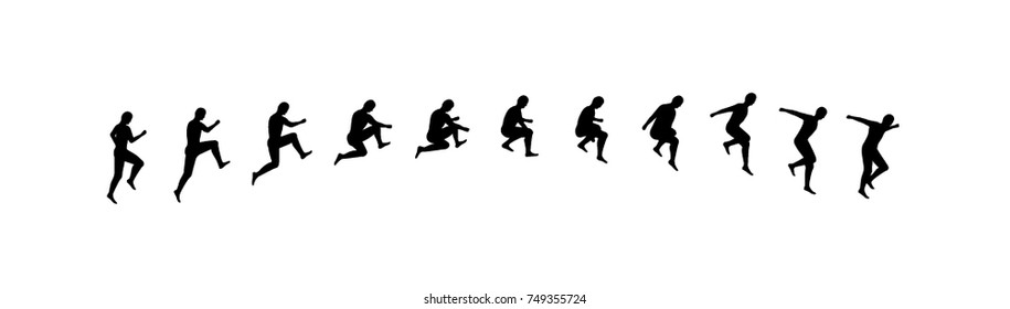 Man running and jumping sequence vector illustration frames collection. Sport animation shapes