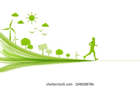A man running for leading the green city for Go green, Environmentally saving and Eco friendly concept, Vector illustration