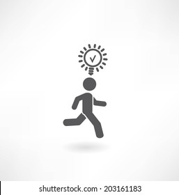 man running with a light bulb icon