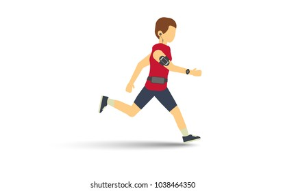 Man running and listening music with gadget wireless earphone ,arm-band bag for smartphone ,smartwatch and Waist bag vector illustration flat style.Isolate on white background with drop shadow.