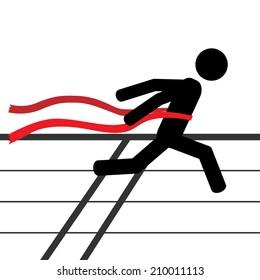 A man is running a marathon. It is a stick figure vector. EPS10